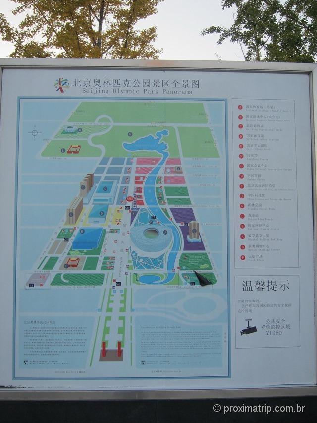 Mapa do Parque Olímpico de Pequim