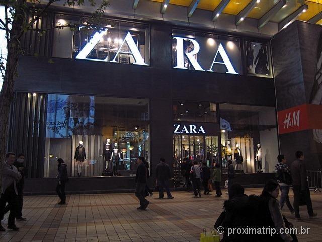 ZARA em Pequim, a moderna rua Wangfujing e suas lojas