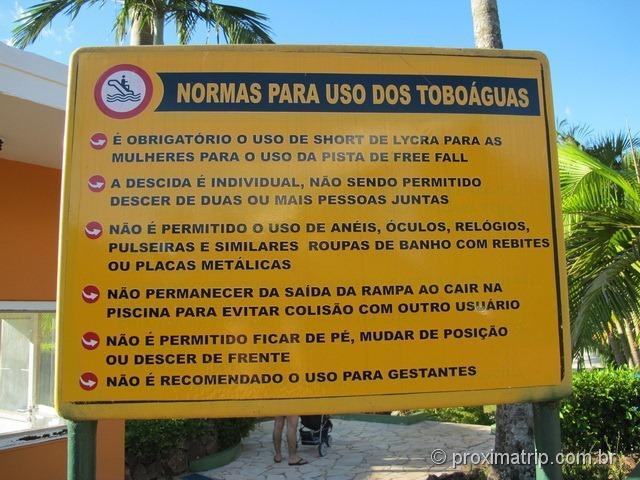 Normas para uso dos toboáguas - Parque aquático Thermas Water Park - Águas de São Pedro