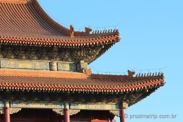 O belo e ornamentado telhado do Tian'an Men - Pequim