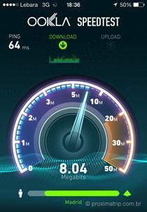 Velocidade do 3G/4G em Madri - Espanha - operadora Lebara