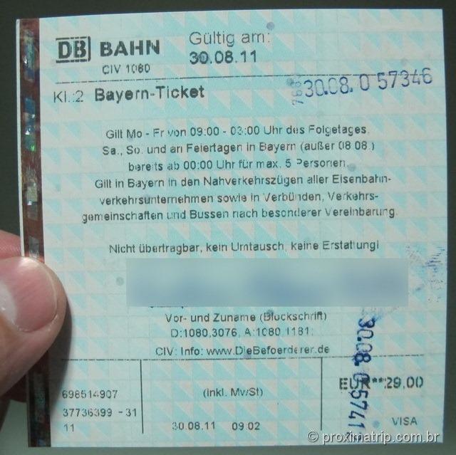 """O """"Bayern ticket"""", que permite usar toda a rede de trens regionais da DB, além de metrôs (S e U-bahns), ônibus e trams"""