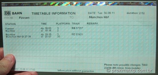 Timetable do trem para Füssen