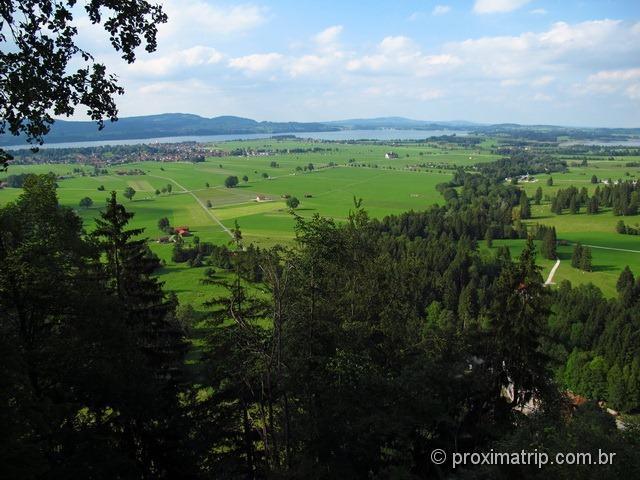 Vista do lago Forggensee, cidade de Schwangau (vizinha de Füssen)