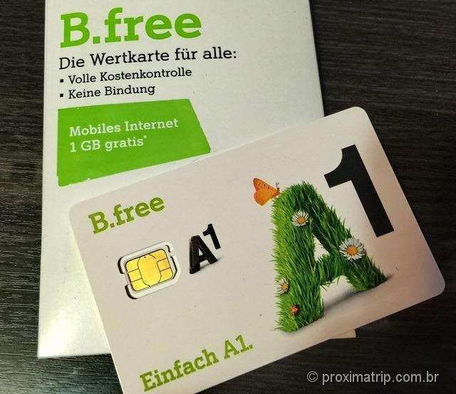 Chip de celular tamanho nano sim comprado na loja A1 em Viena - Austria