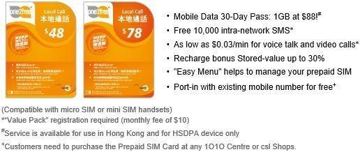 CSL - chip celular pré pago 3G-4G em Hong Kong - Local