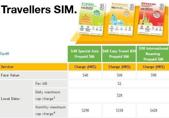 Drei - chip celular com planos de dados [3G] pré pago Hongkong - Macao - TravellersSIM