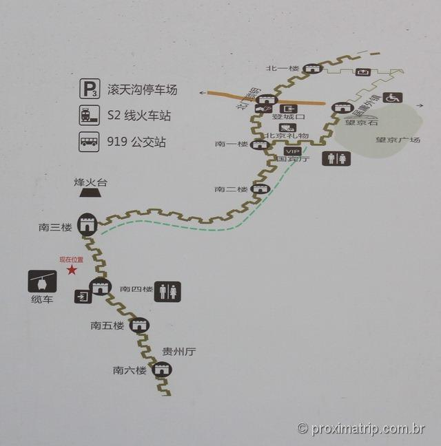 Muralha da China - mapa do trecho de Badaling