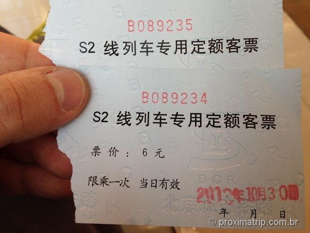 Bilhetes do trem S2 - Muralhada China - Badaling - Pequim