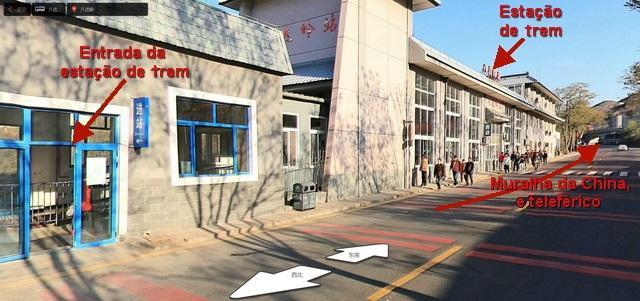 Muralha da China - estacao de trem em Badaling [créditos da imagem: maps.baidu.com - clique na imagem para ver o mapa no Baidu]