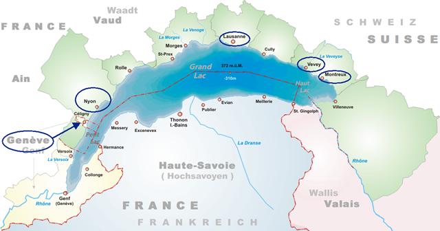 Lago Lemán Alpes Suiça-França