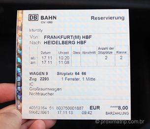 reserva de assento no trem ICE