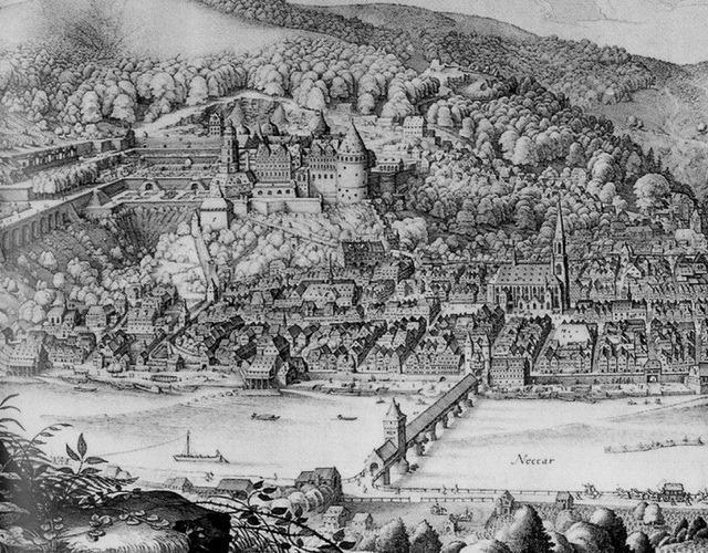 castelo de heidelberg pintado em 1620
