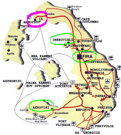 mapa santorini - onde se hospedar