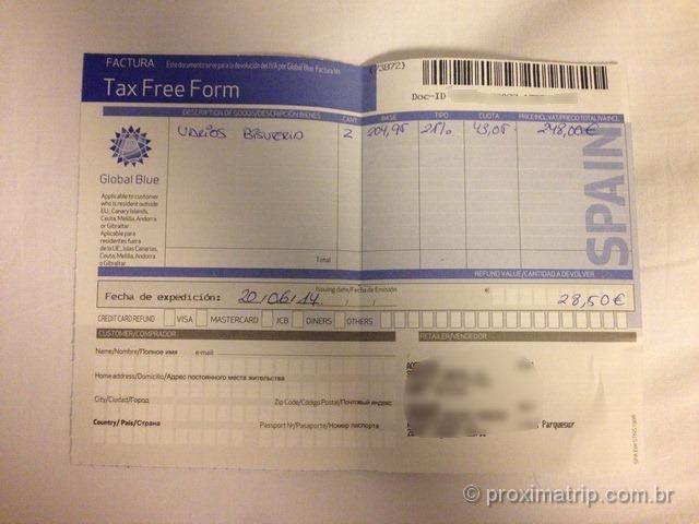 Formulário do Tax Free