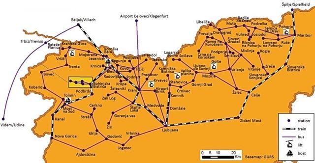 Eslovênia - mapa das rotas de onibus e trens