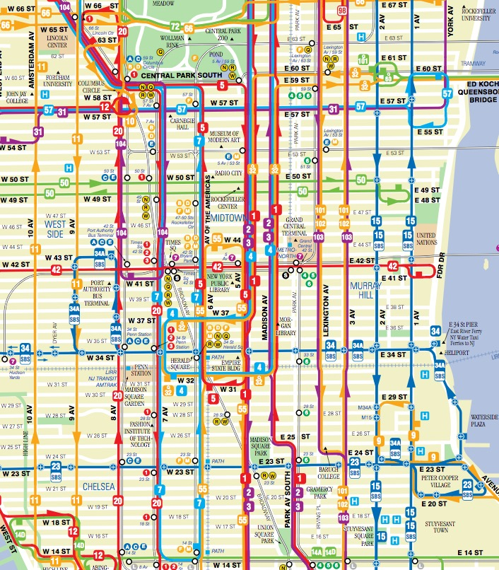 Mapa da rede de ônibus em Nova York (Manhatan)