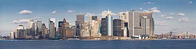Manhattan skyline visto da staten island ferry