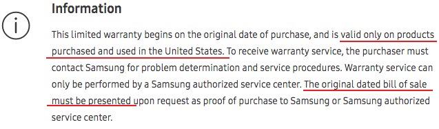 Samsung celular garantia EUA