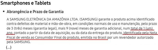 Samsung celular garantia