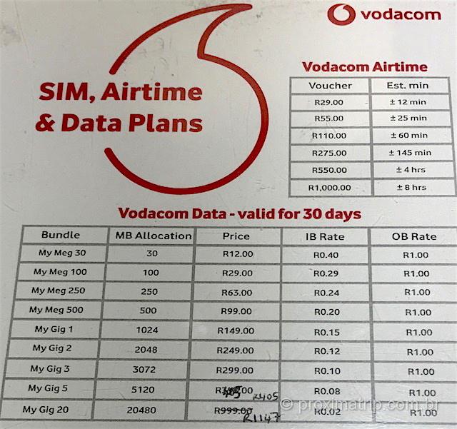 Onde comprar chip celular africa do sul preco chip pre pago internet operadora Vodacom aeroporto OR tambo johanesburgo