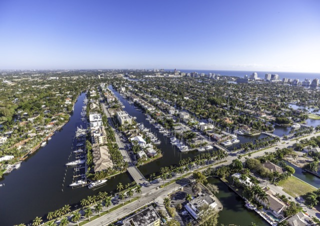 Aerial Fort Lauderdale Florida taken with helicopter