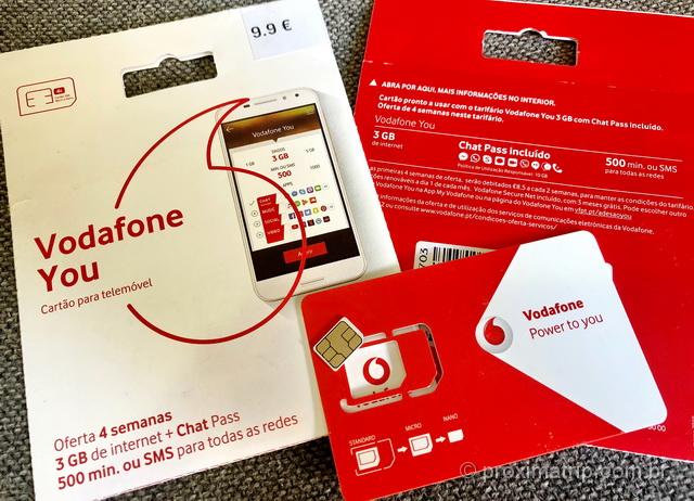 Chip celular pré pago da Vodafone em Portugal