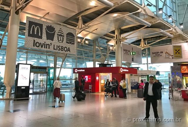 Stand vodafone aeroporto lisboa piso terreo onde comprar chip celular em portugal