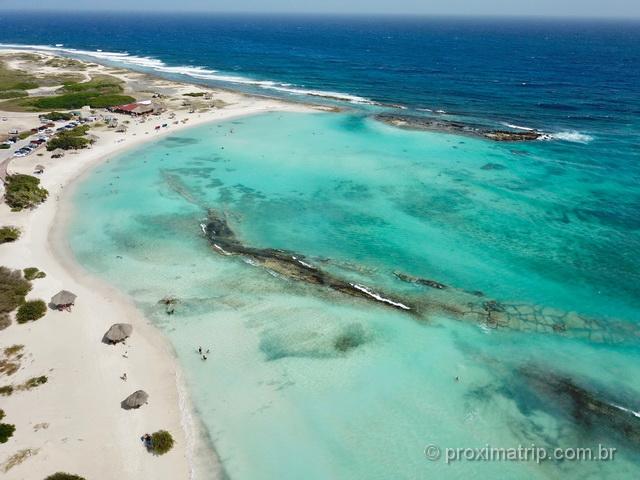 Baby beach em Aruba, vista com drone