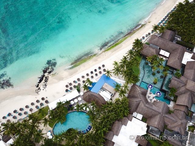 Vista com drone do Hotel/Resort Constance Belle Mare Plage - Ilhas Maurício