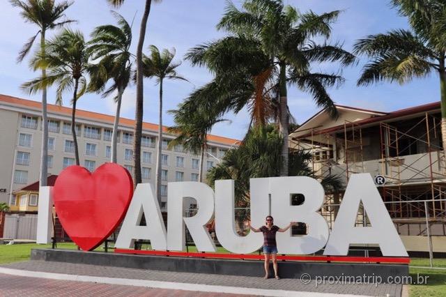 Letreiro I love Aruba em Oranjestad