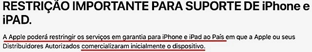 Garantia apple iphone celular comprado exterior