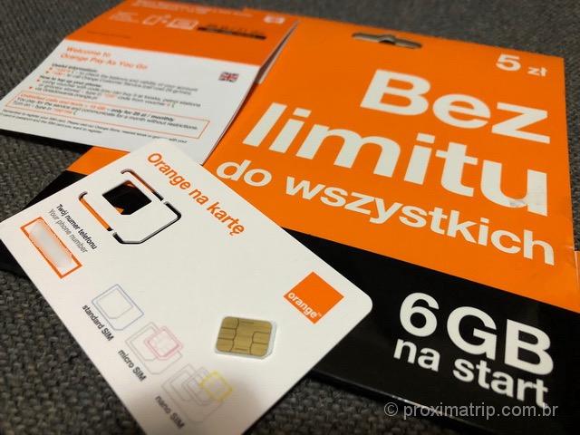 Chip celular pré-pago da Orange na Polônia