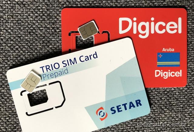 Chips pré pagos das operadoras Digicel e Setar, em Aruba