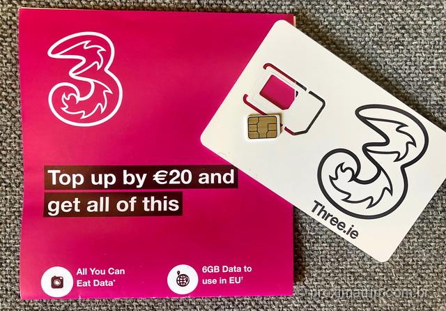 Chip pré pago com dados ilimitados na Irlanda