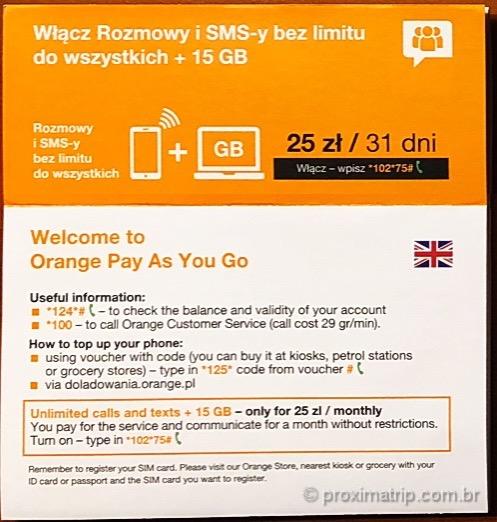 Instrucoes de ativacao do plano pre pago de dados da orange na polonia
