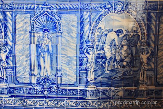 Azulejos expostos em museu de Évora, Portugal