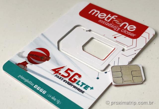 Chip de celular da Metfone, testado por nós no Camboja