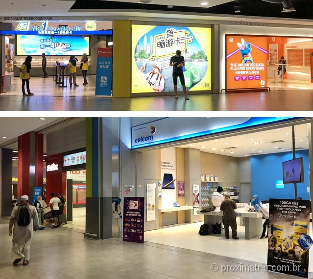 Lojas Chip de Celular no Hall de chegadas (KLIA1) do Aeroporto de Kuala Lumpur - Malásia