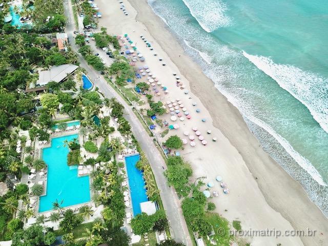 Padma Legian Resort, visto com drone: um dos lugares para se hospedar em Bali