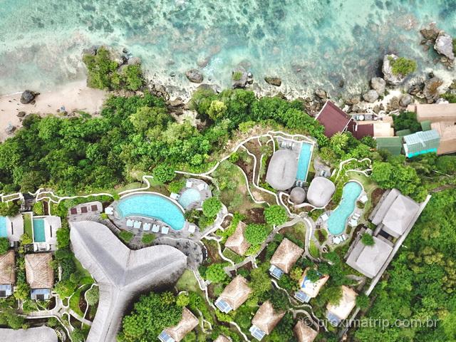 Vista de drone do Suarga Padang Padang, boa opção para se hospedar em Bali