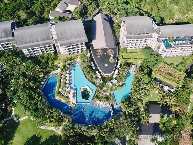 Onde se hospedar em Bali: Vista do hotel Rimba Jimbaran com drone