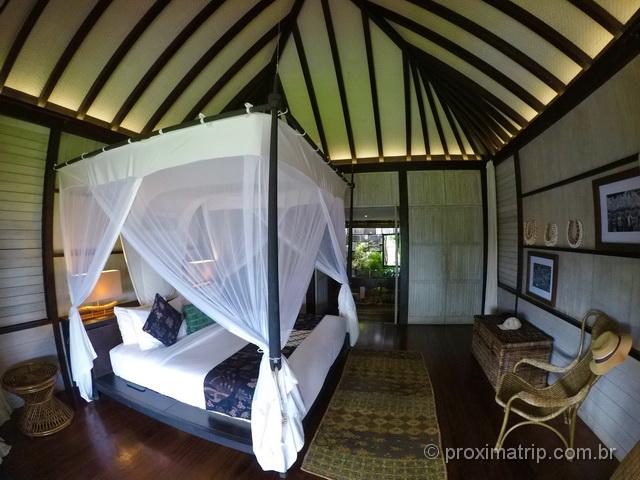 Quarto do hotel boutique sustentável Suarga Padang Padang