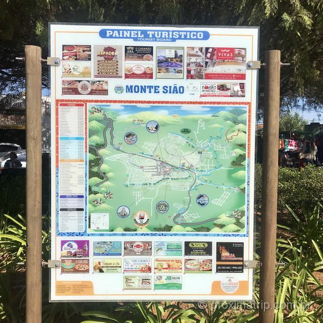 Mapa com pontos turísticos em Monte Sião