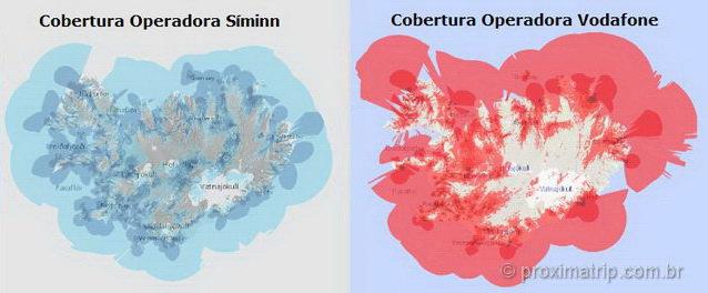 Mapa de cobertura de sinal de celular na Islândia
