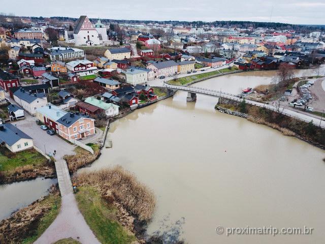 vista aérea de Porvoo, com drone