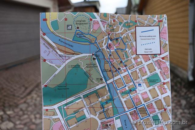 Mapa de Porvoo com as atrações turísticas