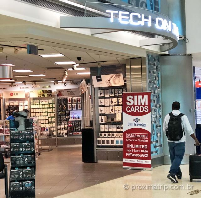 Loja chip celular com internet no aeroporto de Miami