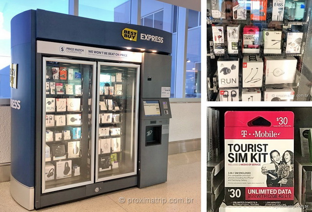 Máquinas Best Buy Express aeroportos EUA vendem chip celular internet ilimitada