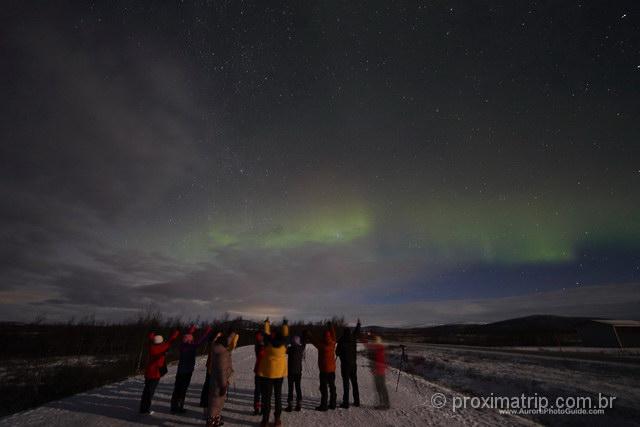 Nosso grupo de caça à Aurora Boreal em Tromso